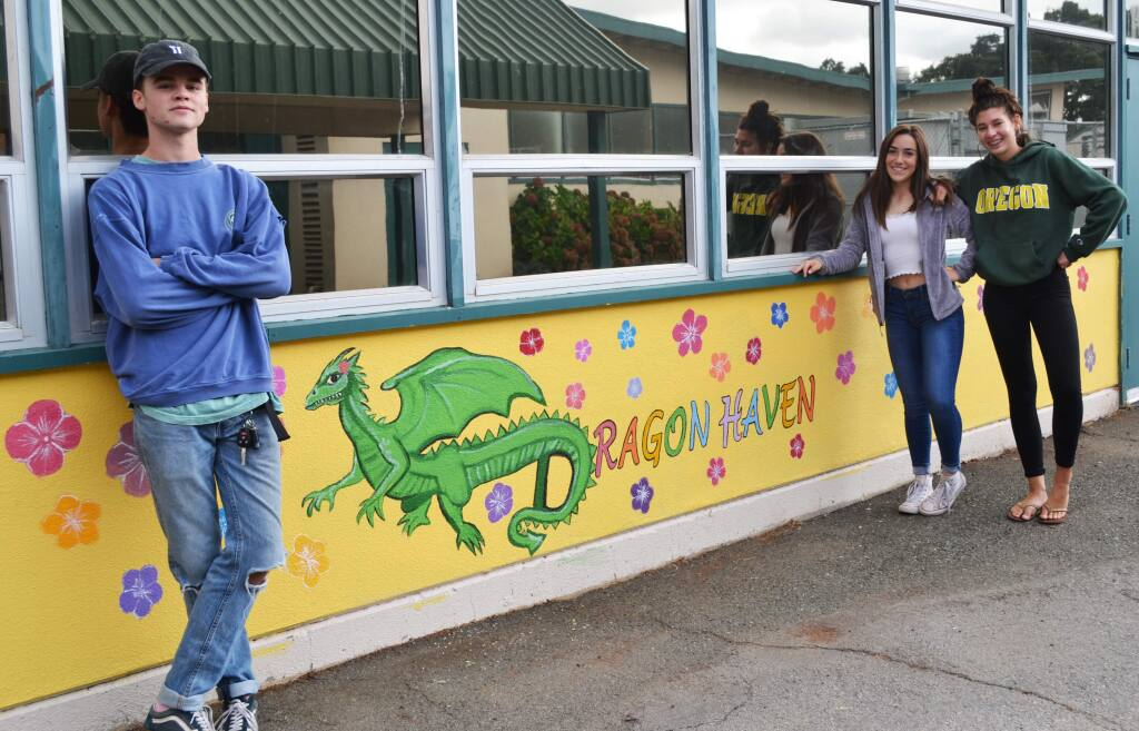 SVHS students outside the Dragon Haven - senior Jack Pier, juniors Auguste Andi and and Sabrina Baker. Phot by Alison Perkins.