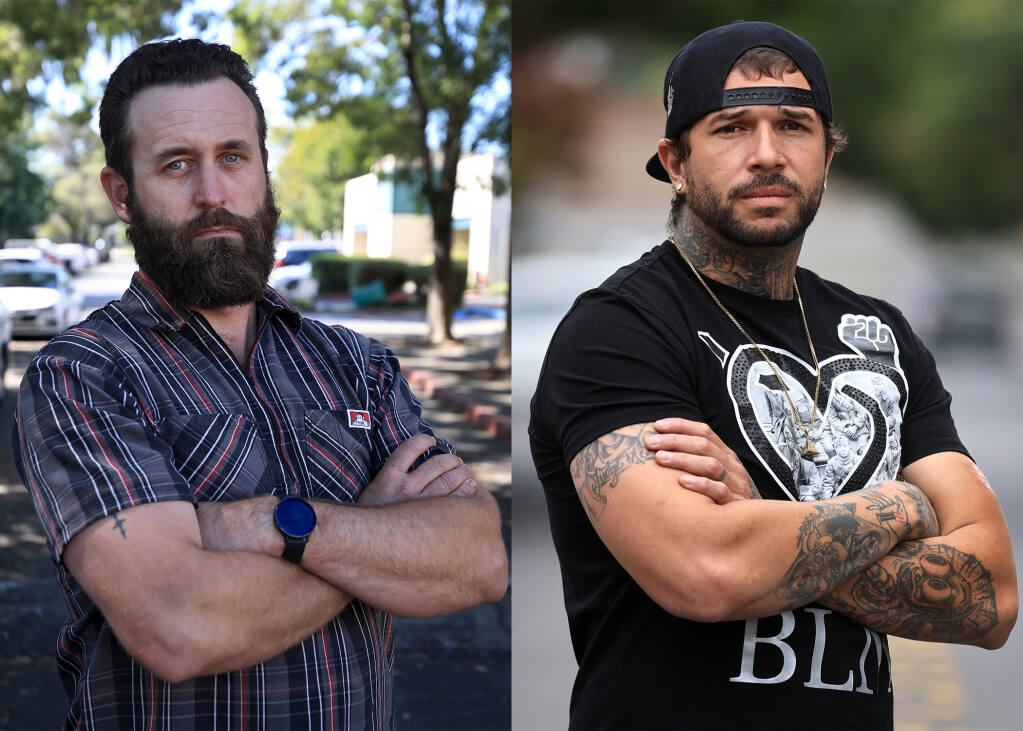 David Huebel, left, is frustrated by people who refuse to be vaccinated. Shelby Dobson, right, was recently denied a job opportunity because he can't prove he's vaccinated against the coronavirus. (Kent Porter / The Press Democrat)