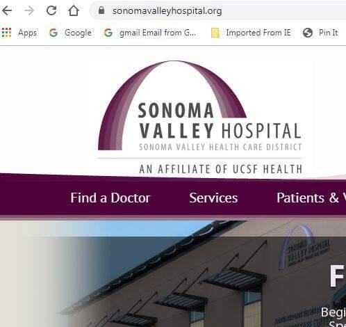 Sonoma Valley Hospital's website domain name was hijacked. The new URL is sonomavalleyhospital.org.