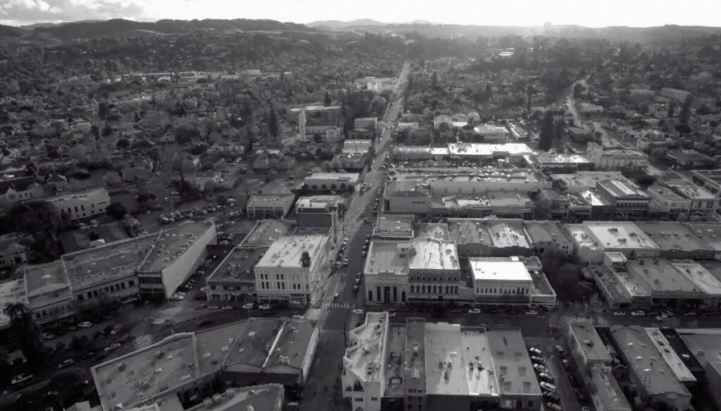 "BACKLOT PETALUMA: A drone shot of Petaluma from the independent science-fiction film ""Pill Head."" (COURTESY OF DAEDALUS HOWELL)"