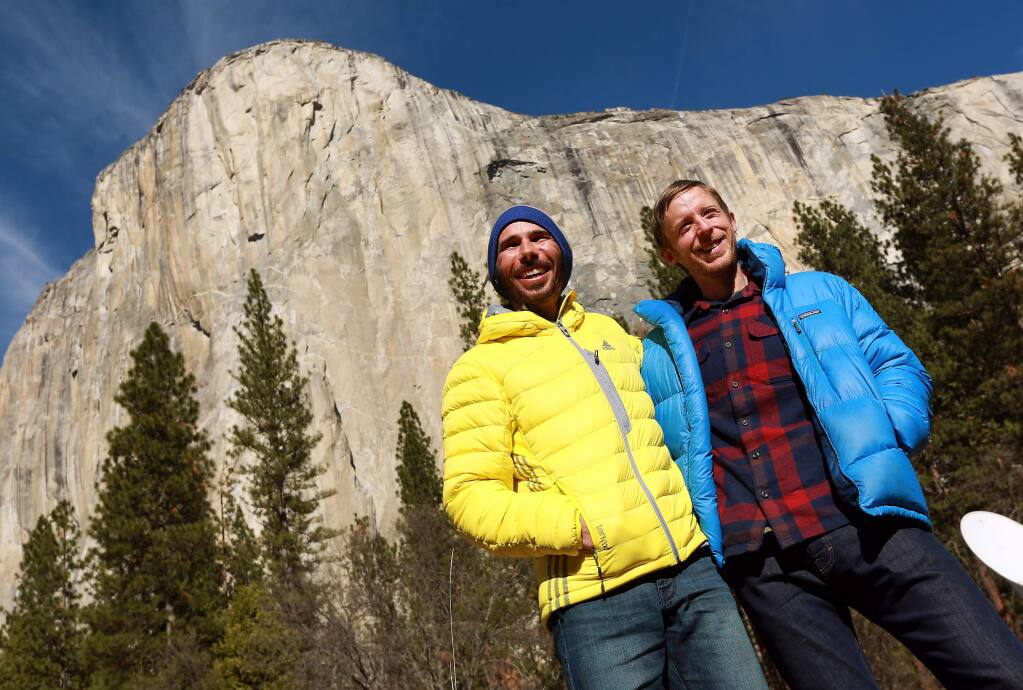 Before he was known around the world as one of two rock climbers who scaled Dawn Wall in Yosemite National Park, Kevin Jorgeson, left, was training in his hometown of Santa Rosa and teaching rock climbing at The Presentation School in Sonoma. He plans to open Session Climbing, a climbing and athletic center in Santa Rosa, in 2021, the Press Democrat recently reported. (JOHN BURGESS/ Press Democrat)