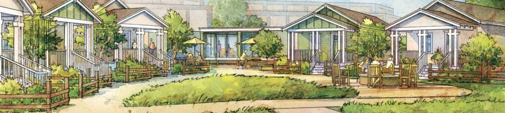 The site plan drawn up by Berkeley design firm Opticos Design incorporates prefab homes clustered around a shared green on Medtronics campus in Fountaingrove. (OPTICOS DESIGN)