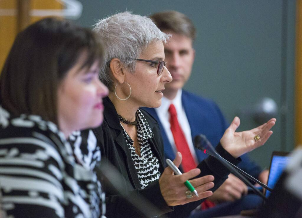 The Sonoma Valley school board will discuss how to fill the seat of retiring Nicole Abate Ducarroz, center, at its Sept. 3 meeting. (Photo by Robbi Pengelly/Index-Tribune)