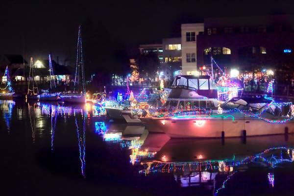 All the boots line up at the dock at the Petaluma Lighted Boat Parade in the downtown turning basin on Saturday, December 13, 2014. (JOHN O'HARA/FOR THE ARGUS-COURIER)