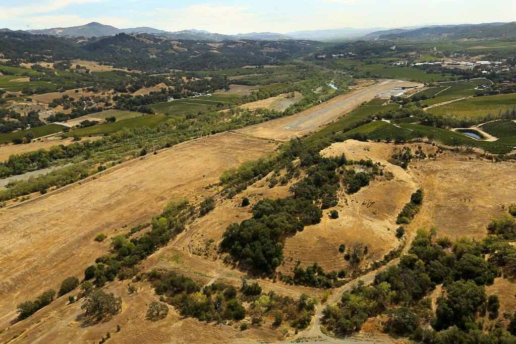 The proposed 254-acre Alexander Valley Resort, seen in the lower part of the image in brown grass. (JOHN BURGESS / The Press Democrat)