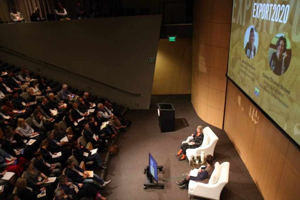 Jancis Robinson, one of the world's top wine critics, speaks at the California Wine Export Conference on Tuesday, Feb. 18, 2020, about opportunities for Golden State wines in foreign markets. (Jeff Quackenbush / North Bay Business Journal)