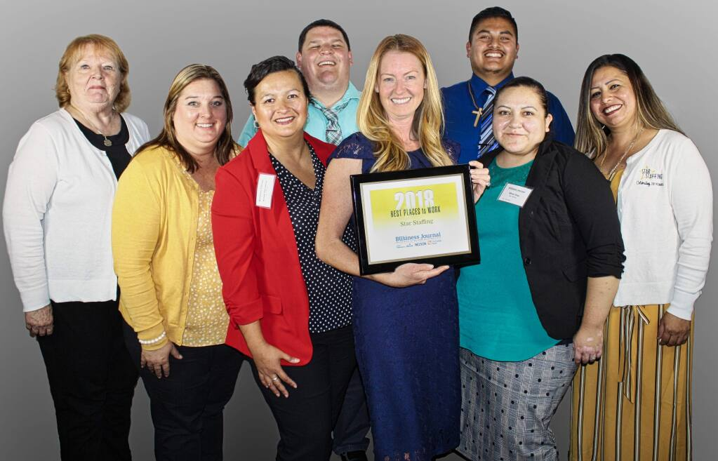 Star Staffing returns for a seventh time to the Best Places to Work in the North Bay winners. See the 108 other organizations that qualified for the list in 2019. (GARY QUACKENBUSH / FOR NORTH BAY BUSINESS JOURNAL) Sept. 20, 2018