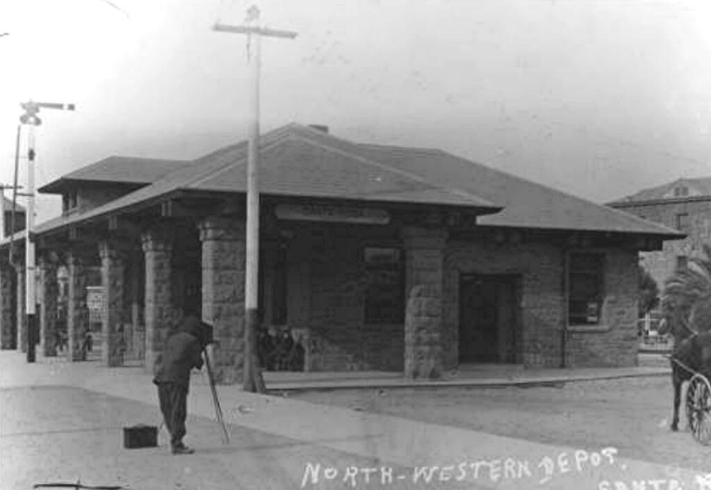"""""""Northwestern Pacific Depot, Railroad Square, Santa Rosa. 1908. Courtesy, the Sonoma County Library."""""""