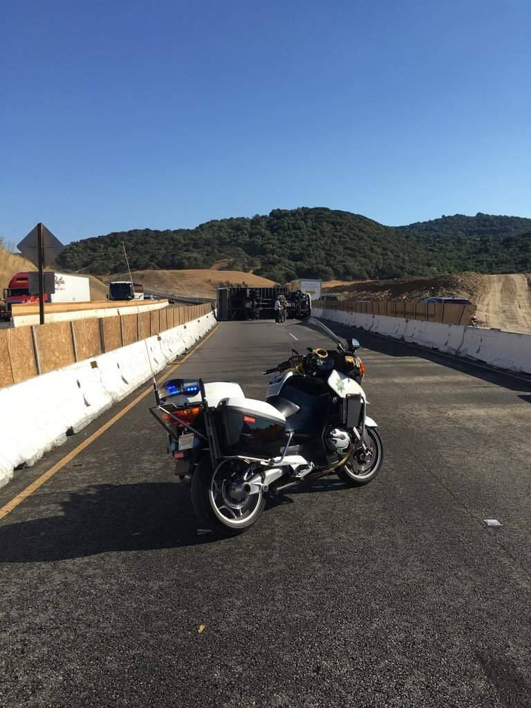 An overturned truck snarled Highway 101 traffic at the start of the evening commute, Wednesday, Aug. 24, 2016. (COURTESY OF CHP)