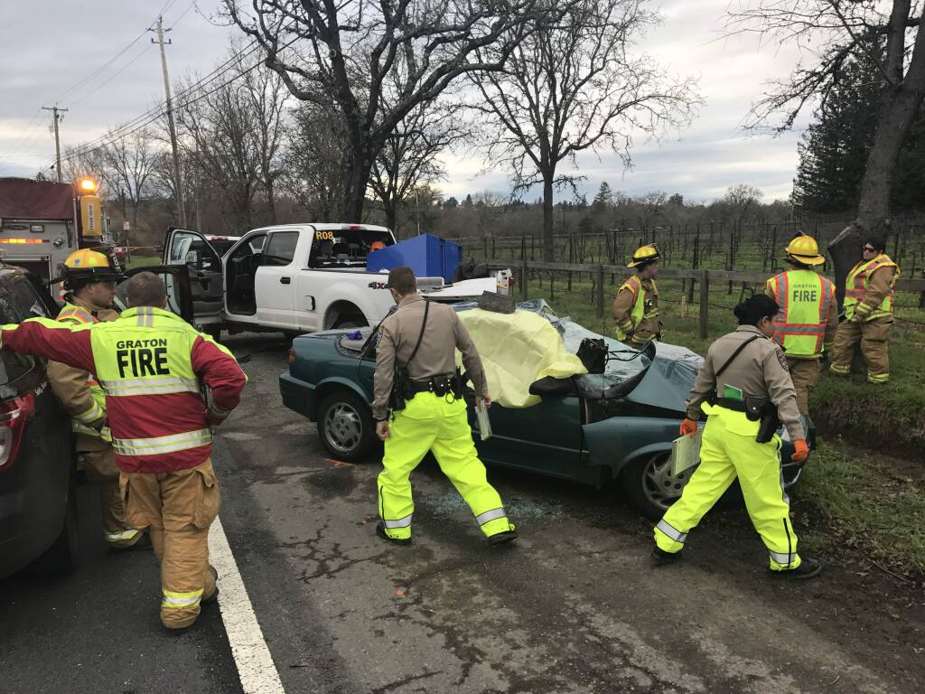 One person died and another was injured Monday afternoon after a driver lost control on Occidental Road and hit a parked tree trimming truck, according to CHP and emergency dispatch reports. (Beth Schlanker, PD)