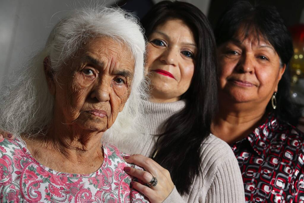 Christopher Chung / The Press DemocratMildred Goforth, left, is in the process of re-enrollment with the Robinson Rancheria, along with her granddaughter, Julie Moran, and daughter, Karen Ramos. Goforth was disenrolled by the rancheria eight years ago.