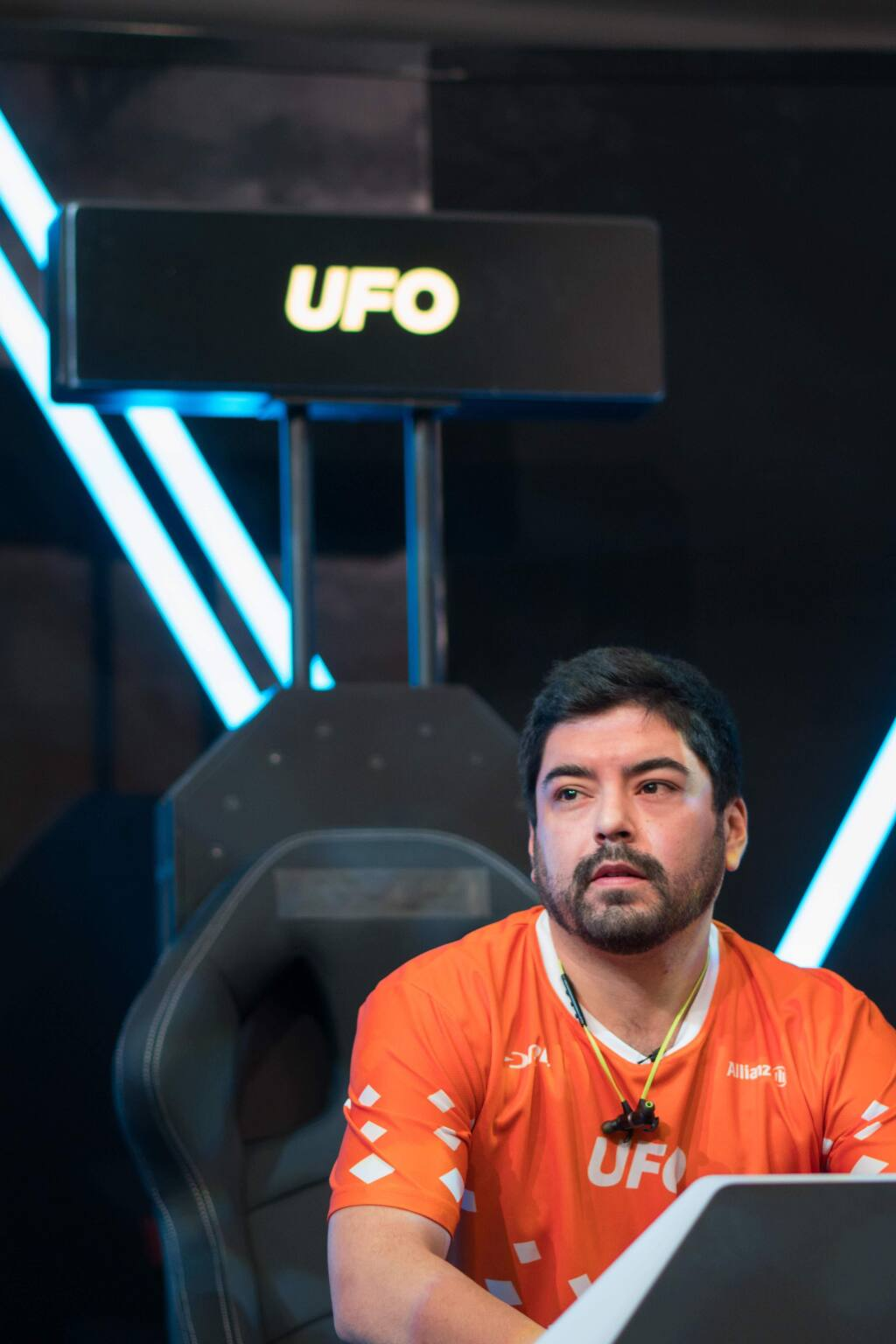 Emmanuel Mota, known as 'UFO' on 'Drone Racing League,' takes a break in the seat from which he controls his drone during races. The third season of the show, featuring Mota, airs on ESPN begins on Sept. 6, 2018. (COURTESY OF EMMANUEL MOTA)