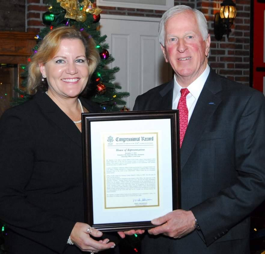 Submitted photoSgt. Cecile Focha, with the Sonoma County Sheriff's Office, was honored Sunday by Rep. Mike Thompson, D-St. Helena, as the 5th District Public Safety Heroine of the Year for 2016.