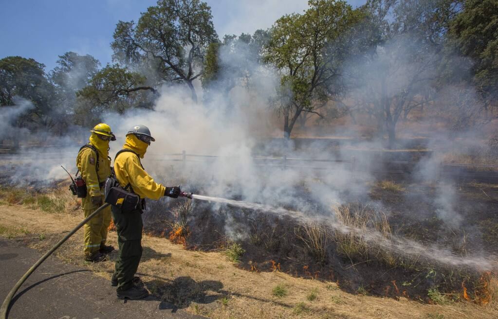 A controlled burn took place on Monday, June 17, in the Sonoma Valley Regional Park on Highway 12 in Glen Ellen in order to reduce the risk of future wildfires. The half-cent sales tax measure would support vegetation management such as this. (Photo by Robbi Pengelly/Index-Tribune)