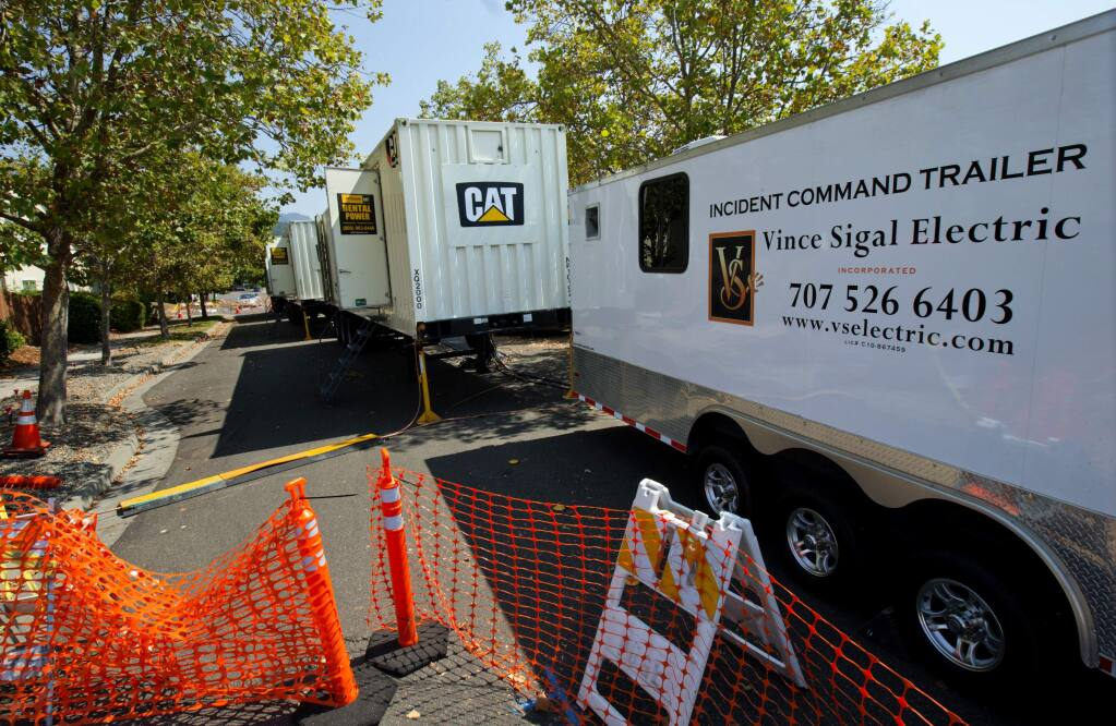 PG&E set up a temporary substation on Great Heron Drive in the Skyhawk area of Santa Rosa to address load issues from heat and new houses in the area. (photo by John Burgess/The Press Democrat)