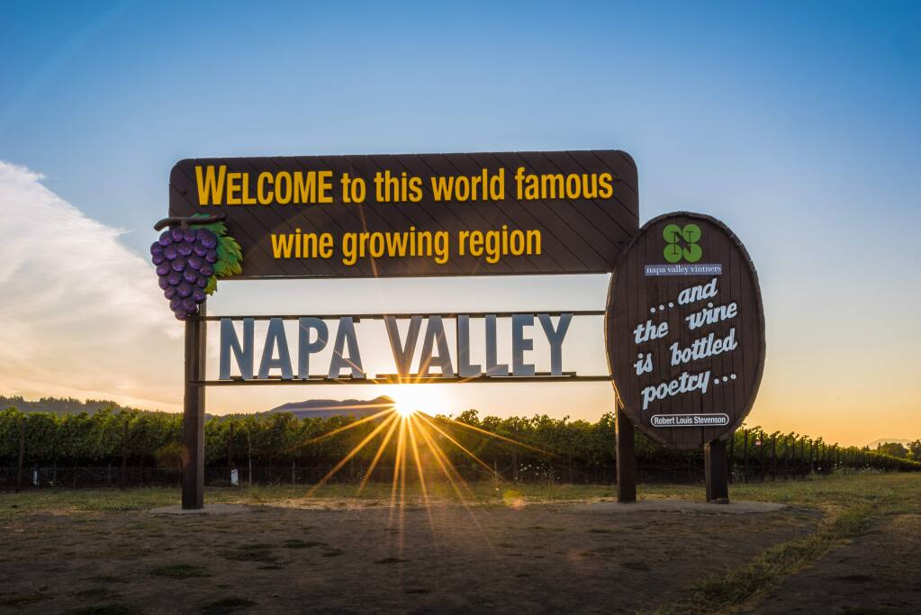 A favorite stop for tourists is this sign in Napa Valley. (Bob McClenahan for Visit Napa Valley)