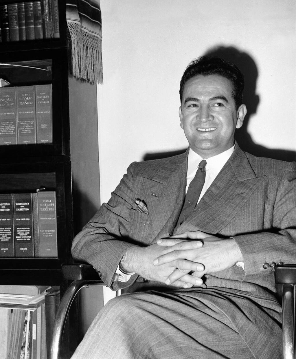 FILE - This May 2, 1949, file photo shows physician and surgeon Dr. Hector Perez Garcia, whose goal was to fight for a better deal for U.S. Latin American citizens, in Corpus Christi, Texas. The office of 4, where the Mexican American civil rights movement was sparked, is gone and is an example that many Latino historical preservation advocates say shows more needs to be done to save sites linked to Latino history. (AP Photo/File)