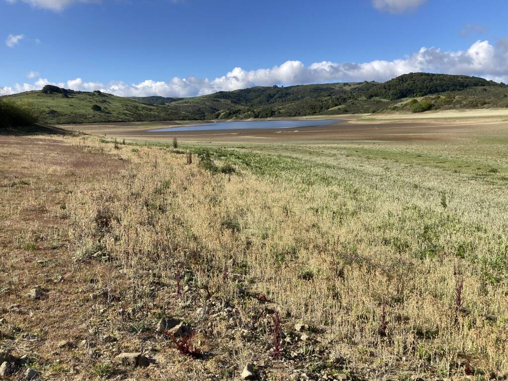 The lack of rainfall has put the Nicasio Reservoir in Marin County at its lowest point in many years. (Photo courtesy Stefan Parnay) April 26, 2021