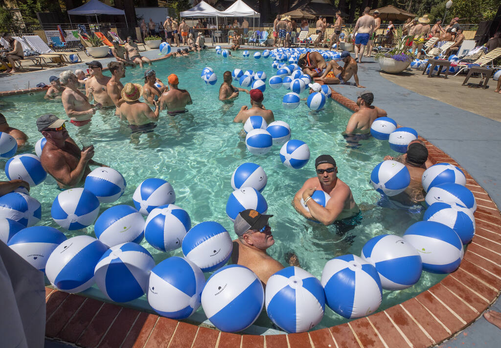 """Hundreds of big, burly, gay men, know as """"Bears"""" gathered for a pool party at the West Sonoma Inn and Spa at the 23rd annual Lazy Bear Week in Guerneville.  (file photo by John Burgess/The Press Democrat)"""