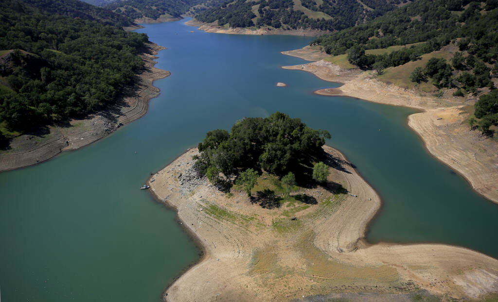 No longer an Island on the Skaggs Springs section of Lake Sonoma, drought has exposed the shoreline, Thursday, April 22, 2021.  (Kent Porter / The Press Democrat) 2021