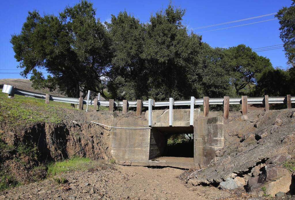 A culvert that runs under Highway 128, near the River Rock Casino driveway, would be improved in the Dry Creek Rancheria creek restoration project.(Christopher Chung/ The Press Democrat)