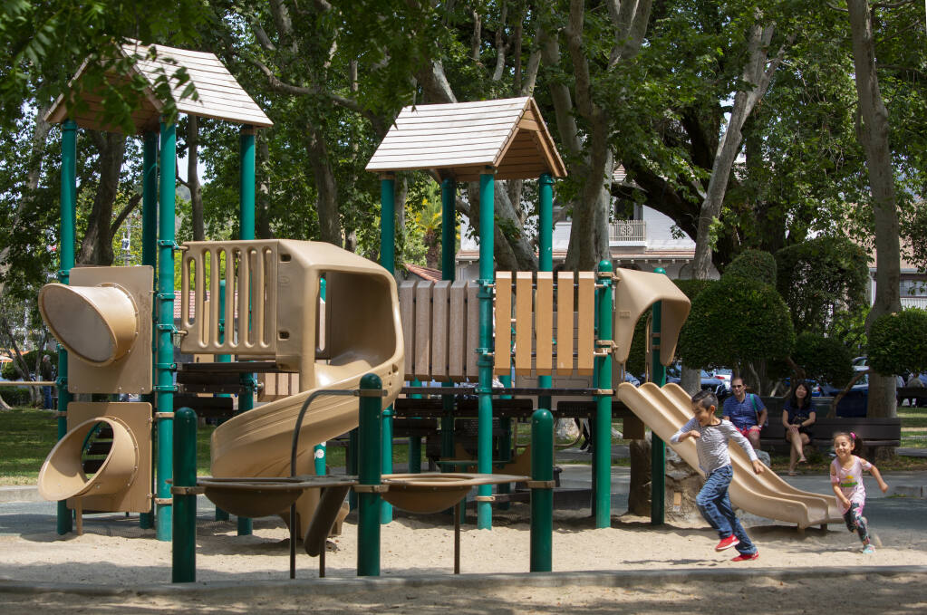 The children's playground on the First Street West side of Sonoma Plaza on Monday, July 26, 2021. (Photo by Robbi Pengelly/Index-Tribune)