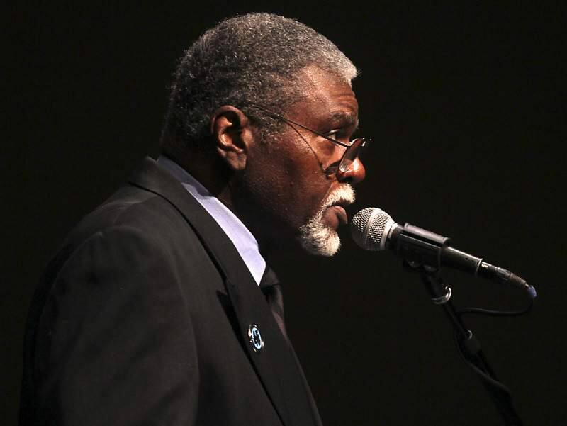 Elbert 'Big Man' Howard, one fo the founding 6 members of the Black Panther party, speaks at the Martin Luther King Jr. annual birthday celebration at Santa Rosa high school on Sunday.