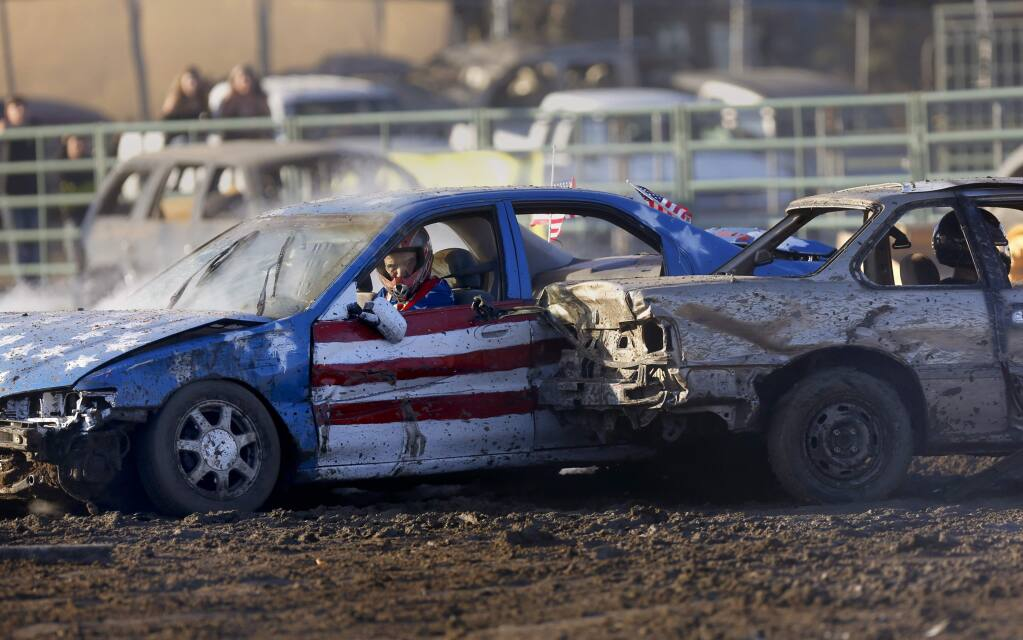 Drivers compete in the Destruction Derby at the Sonoma County Fair in Santa Rosa on Sunday, August 11, 2019. (BETH SCHLANKER/ The Press Democrat)
