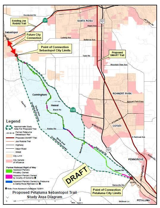 The map shows where the newly planned bike trail that will connect Petaluma and Sebastopol.