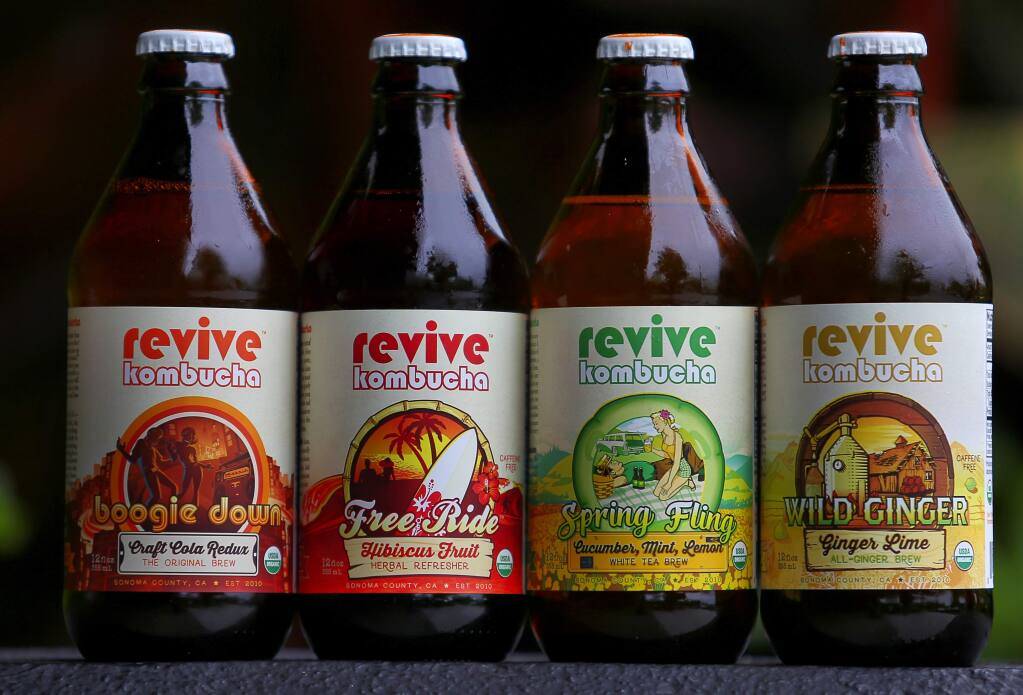 A variety of products from Revive Kombucha. (Christopher Chung/ The Press Democrat)