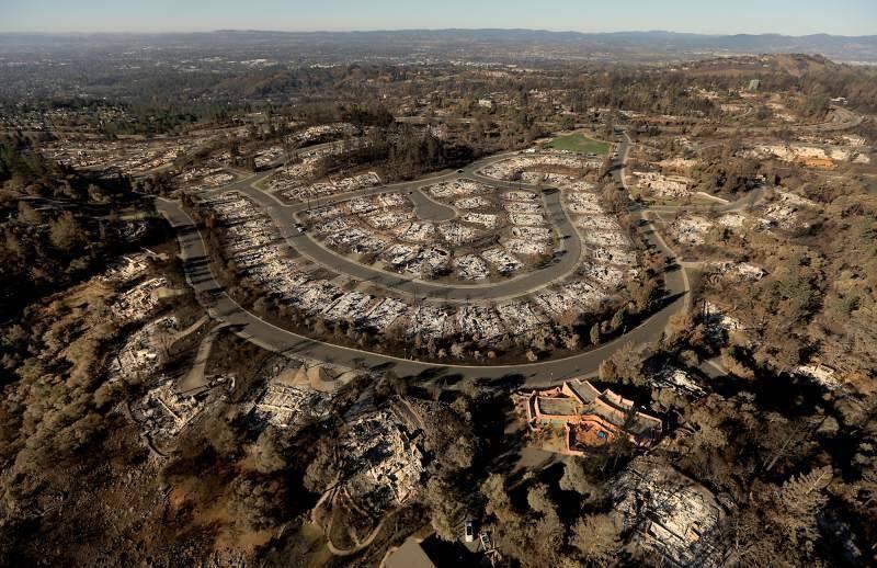 Rincon Ridge in Santa Rosa's Fountaingrove neighborhood shown after the Tubbs fire. Photo taken Oct. 25, 2017. (KENT PORTER/ PD)