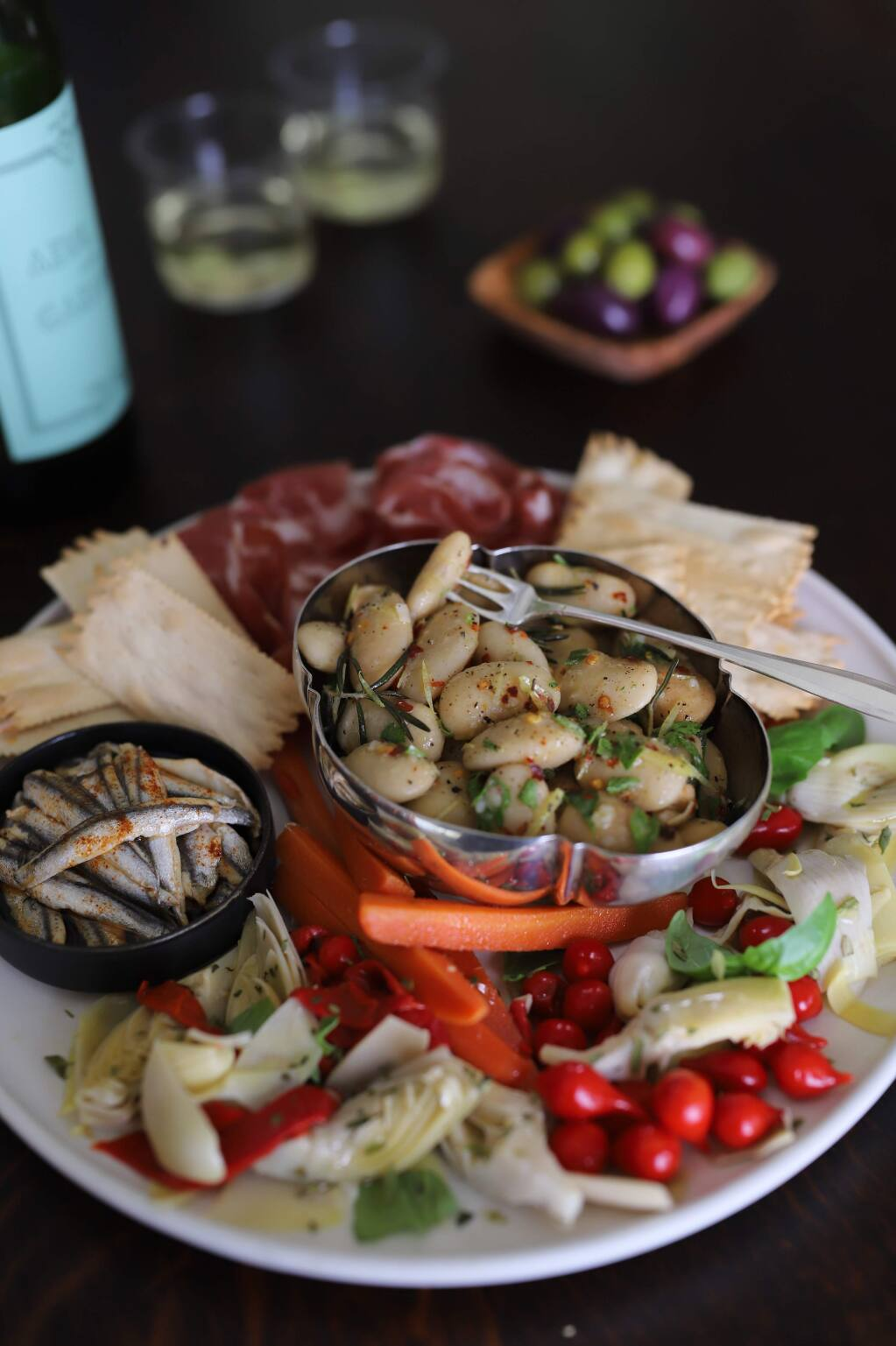 """Steve Sando/The Rancho Gordo Heirloom Bean GuideMarinated Royal Corona Beans from """"The Rancho Gordo Heirloom Bean Guide"""" is a versatile recipe that can be adapted to whatever is in your kitchen."""