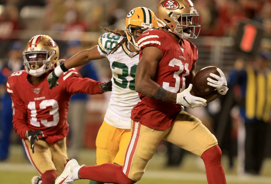 Raheem Mostert rumbles in to the end zone for a touch down during San Francisco's 37-8 win over Green Bay, Sunday, Nov. 24, 2019 in Santa Clara. (Kent Porter / The Press Democrat) 2019