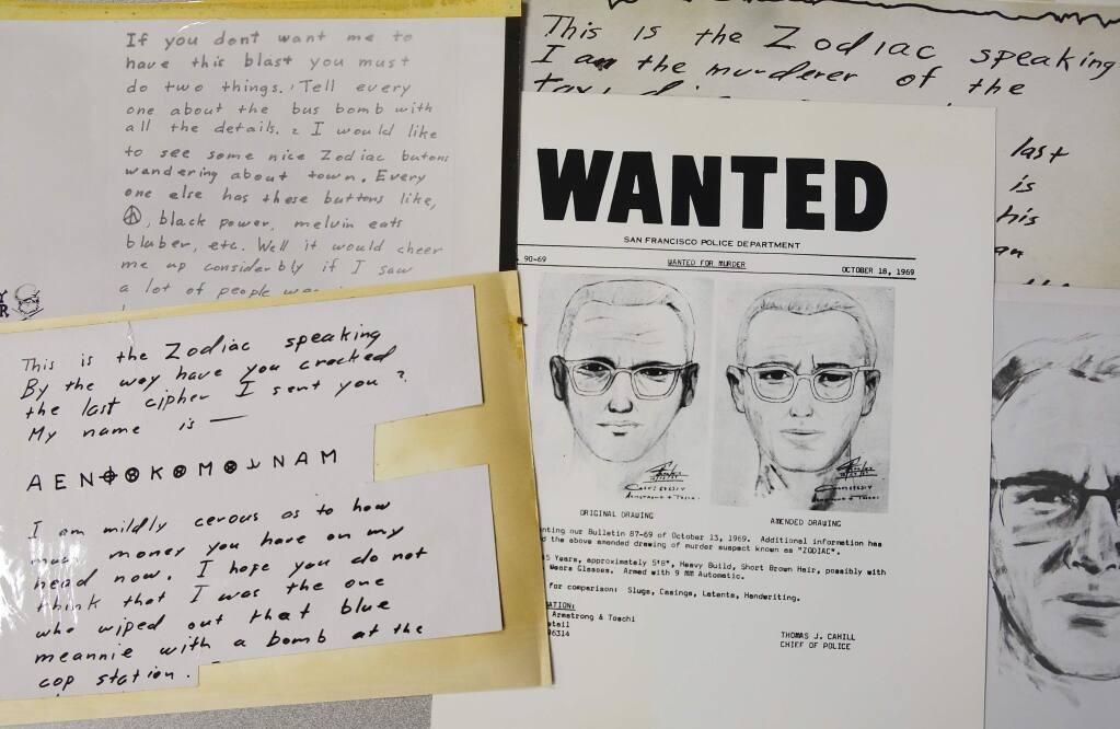 A San Francisco Police Department wanted bulletin and copies of letters sent to the San Francisco Chronicle by a man who called himself Zodiac are displayed Thursday, May 3, 2018, in San Francisco. Detectives in Northern California are trying to get a DNA profile on the Zodiac Killer to track him down using the same family-tree tracing technology investigators used in the Golden State Killer case. Vallejo police Detective Terry Poyser tells the Sacramento Bee his agency has recently submitted two envelopes that contained letters from the Zodiac Killer for DNA analysis. The Zodiac Killer stabbed or shot to death five people in Northern California in 1968 and 1969. He was dubbed the Zodiac Killer after he sent taunting letters and cryptograms to police and newspapers that included astrological symbols. (AP Photo/Eric Risberg)