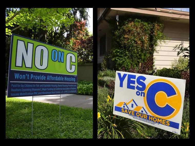 Measure C signs on rent control in Santa Rosa. (Christopher Chung / Press Democrat)