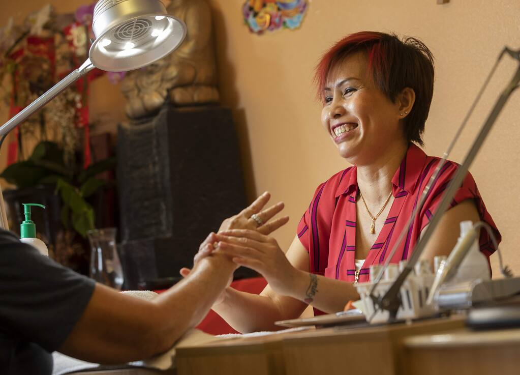 Queen Tran, owner of the Queen Nail Salon in Windsor, is the recipient of the North Bay Spirit award. (John Burgess/The Press Democrat)