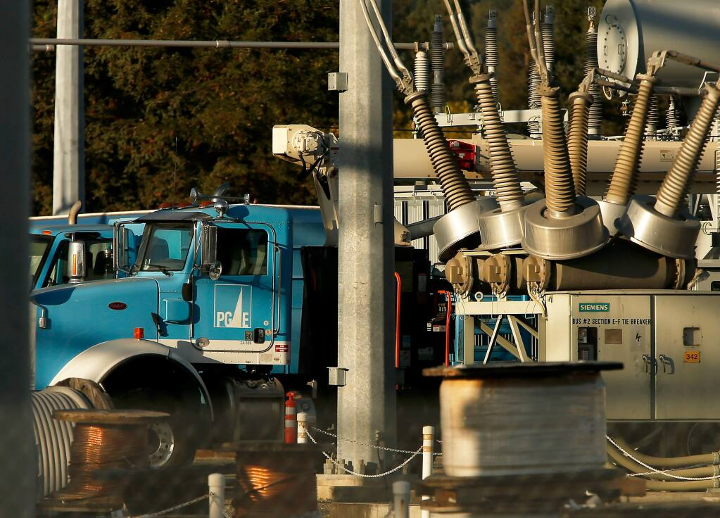 Pacific Gas and Electric equipment is seen at the PG&E substation on River Road, on the second day of the public safety power shutoff to mitigate wildfire risk, in Santa Rosa, California, on Thursday, October 10, 2019. (Alvin Jornada / The Press Democrat)