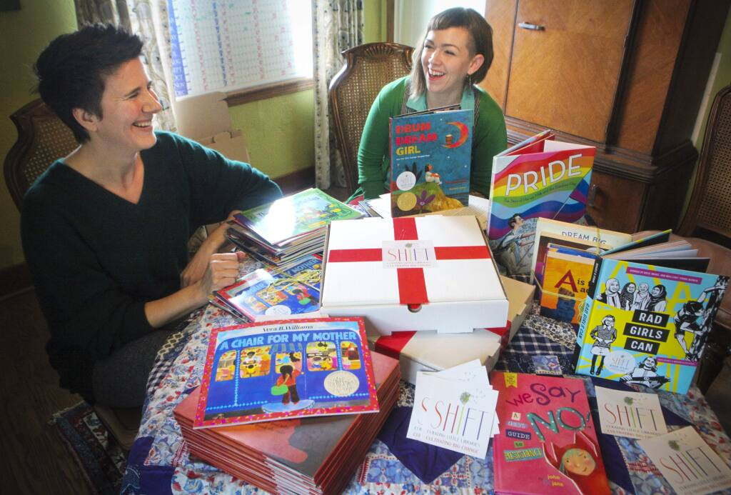 Shift Books Box is a business started by two Petaluma moms, Rebecca Hachmyer and Chrystal Sunshine. It is a children's book subscription service featuring hand selected books with the hope of emboldening children to grow a world that more accurately reflects progressive values.(CRISSY PASCUAL/ARGUS-COURIER STAFF)