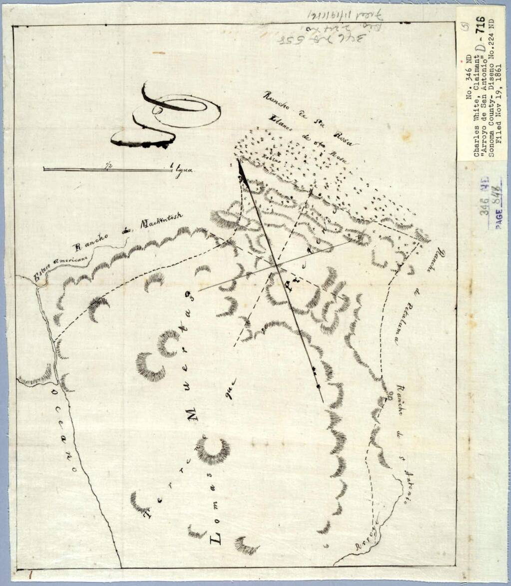 Lomas Muertas appears on a map of Mexican Rancho Arroyo San Antonio from 1861. (U.S. Land Court, Northern District)