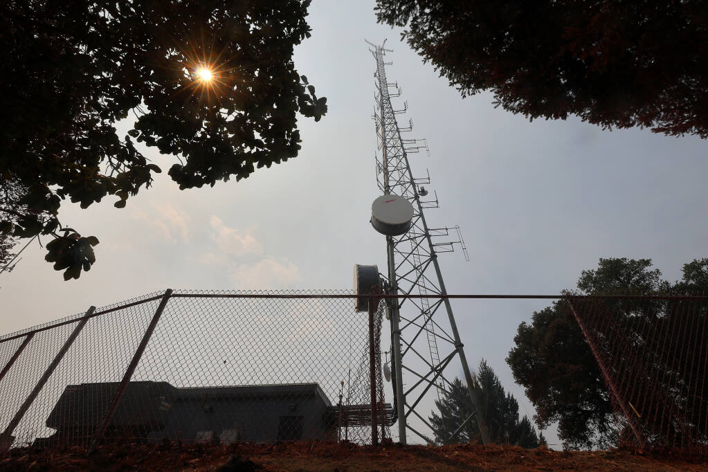 Communications towers high on Mount Jackson Resort Road, near Guerneville, were successfully defended by firefighting personnel.(Christopher Chung/ The Press Democrat)