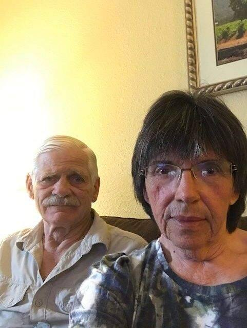 Sandy Granger, right, and her husband, Richard Granger, are Petaluma residents in quarantine at Travis Air Force Base.