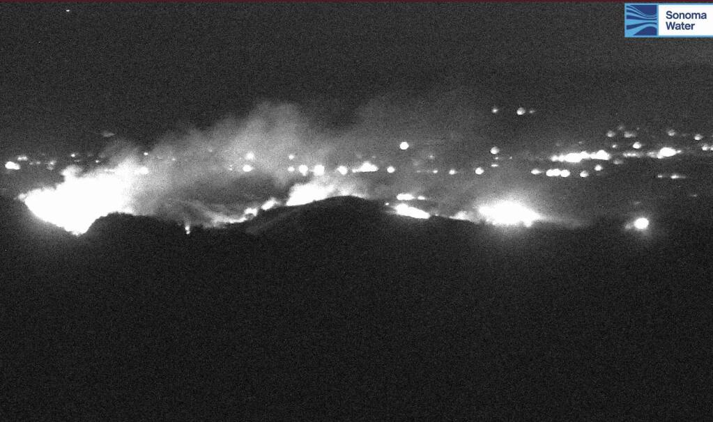 An image from a Sonoma Water fire camera on Mount Jackson, looking east at the Walbridge fire, around 10:20 p.m. on Monday, Sept. 7, 2020.
