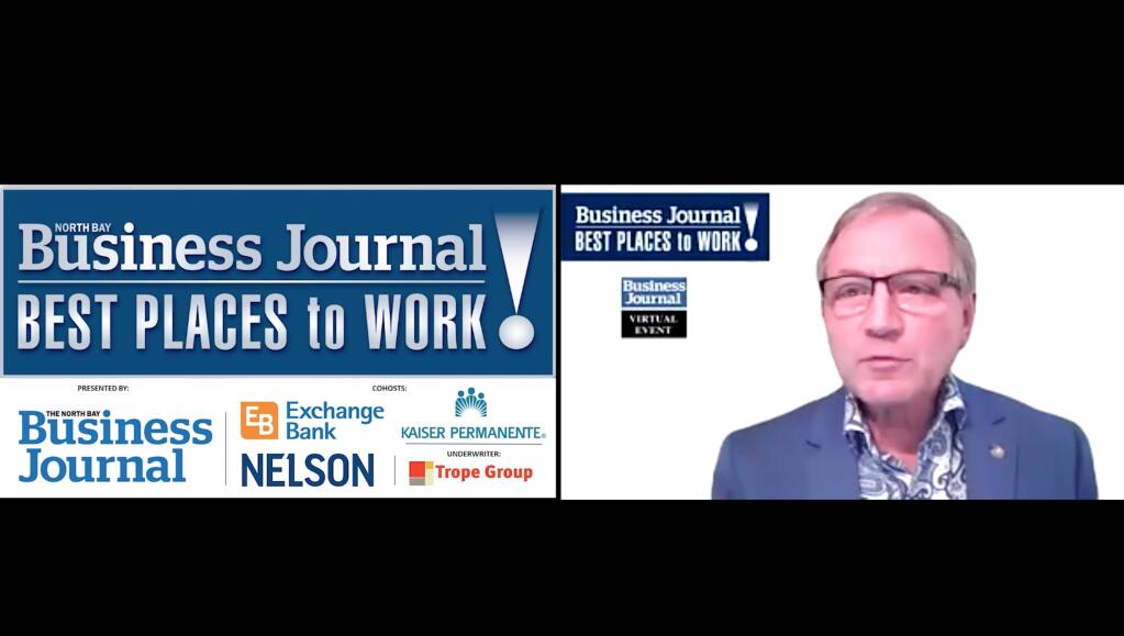 North Bay Business Journal Publisher Brad Bollinger hosts the 2020 Best Places to Work in the North Bay virtual awards event on Sept. 23.