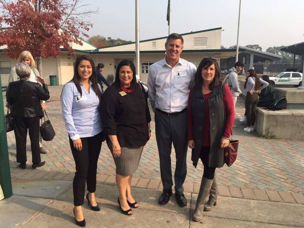 SVHS Alums Denise Calvillo (North Bay Credit Union), Rebecca Hermosillo (Congressman Mike Thompson's office), Kevin Jaggie (Wells Fargo Financial Advisors) and Laura Monterosso (teacher at Sassarini) after their career panels.