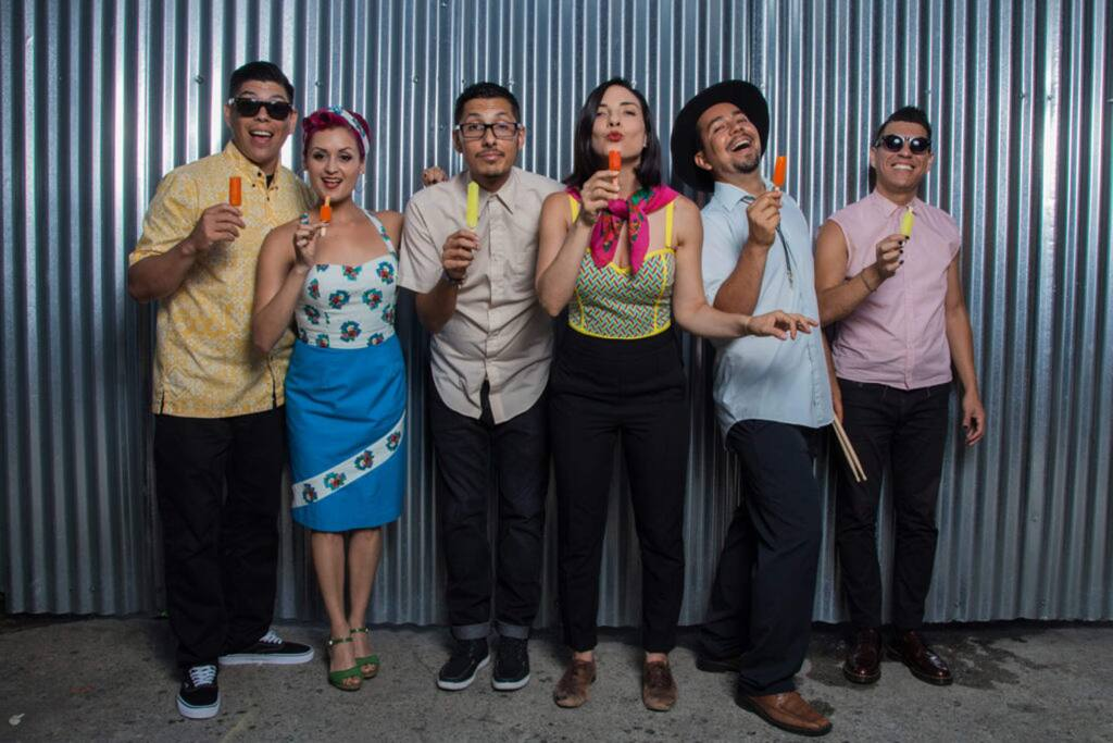 Las Cafeteras is a Chicano band from East Los Angeles. Their music fuses spoken word and folk music with traditional Son jarocho, Afro-Mexican music and zapateado dancing. The Green Music Center will host them in an online performance Oct. 15. (Las Cafeteras)