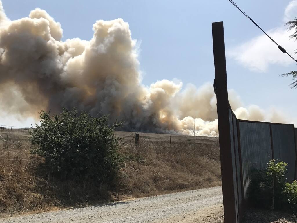 A vegetation fire erupts in Two Rock. Photo courtesy Watch Duty.