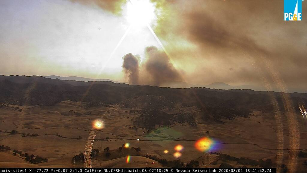 Smoke is seen in the Sites area from one of the nearby North Bay wildfire alert cameras, on Sunday, Aug. 2, 2020. (alertwildfire.org)