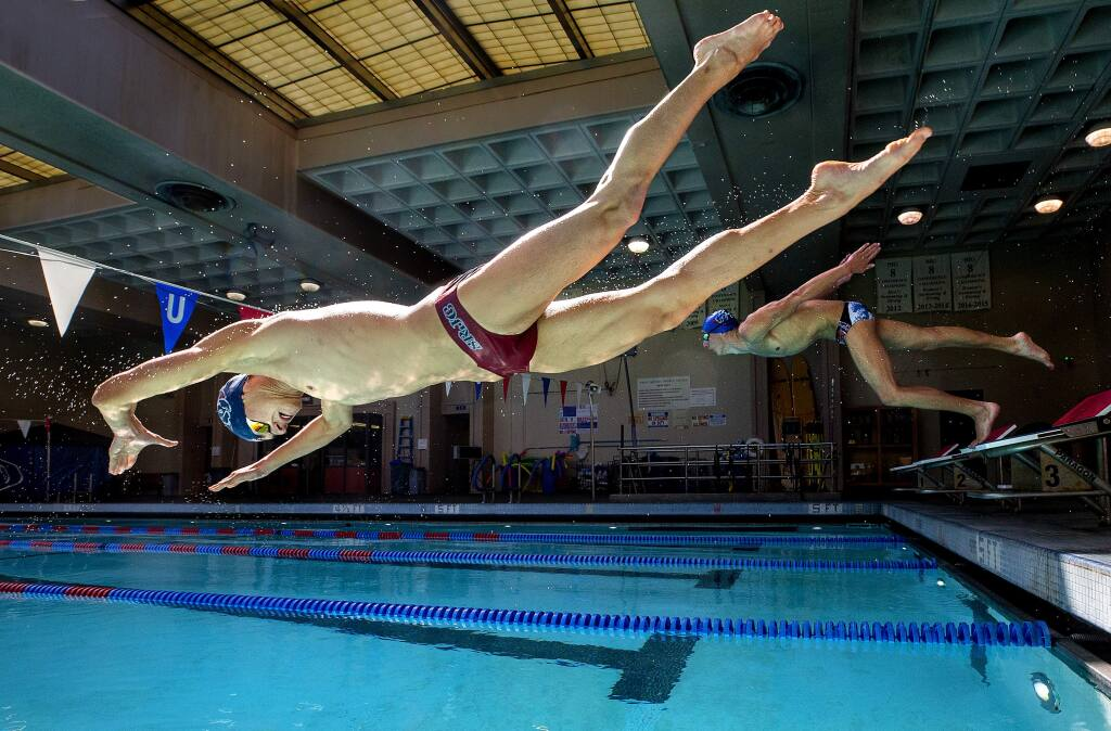 Santa Rosa Junior College and high school swimmers won't be able to use the pool at SRJC, above, or at the Finley and Ridgway swim centers. (John Burgess / The Press Democrat, 2019)