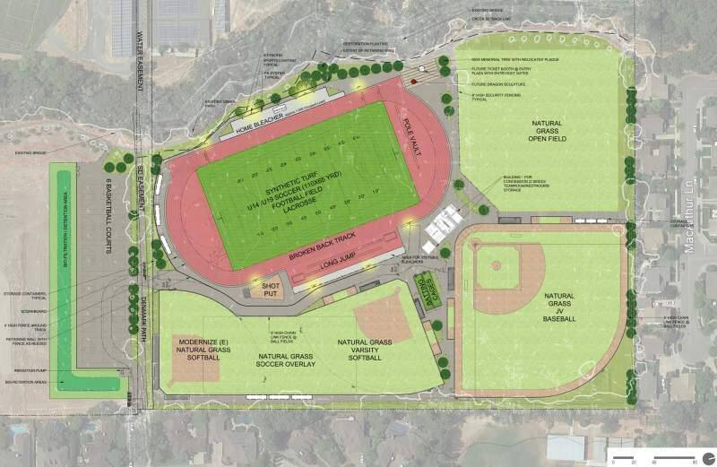 The football-soccer field at top left will have a synthetic surface.
