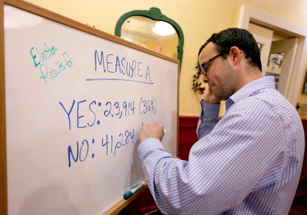 Ryan Rabellino, a supporter for Measure A, writes down the absentee ballot results during a gathering at Mary's Pizza Shack in downtown Santa Rosa, Tuesday, June 2, 2015. (CRISTA JEREMIASON / The Press Democrat)